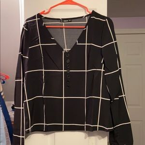 Black and White Shein Grid Top